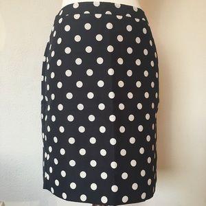 Loft Navy & White Polka Dot Lined Skirt